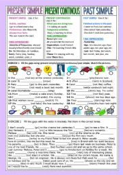 English Worksheet: PRESENT SIMPLE/PRES. CONTINOUS/PAST SIMPLE