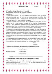 Full Term 1 Test 9th form