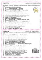 English Worksheet: Narrative tenses - pair work