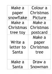 English Worksheet: Advent Calendar Tasks Activities