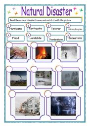 English Worksheet: Natural DIsasters