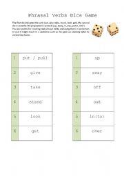 English Worksheet: Phrasal Verbs Dice Game