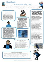 English Worksheet: About boats Why are boats called SHE + Vocabulary + Elvis song