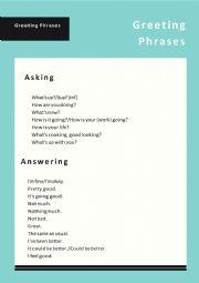Greeting phrases
