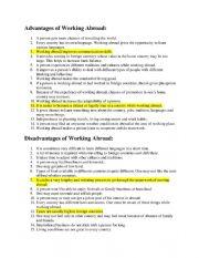 English Worksheet: Brain Drain Adv Vs DisAdv