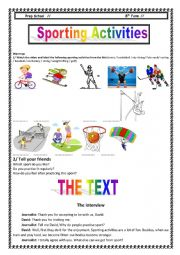English Worksheet: Sporting activities 8th Form
