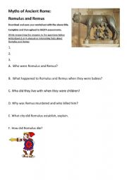 English Worksheet: Myths of Ancient Rome - Romulus and Remus
