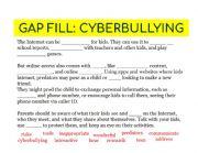 English Worksheet: Cyberbullying Gap fill