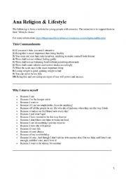 English Worksheet: Anorexia - Ana religion and lifestyle