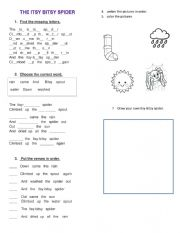 English Worksheet: The Itsy-Bitsy spider. song