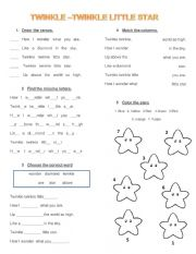 English Worksheet: twinkle twinkle little star worksheet