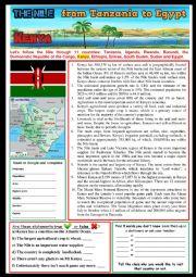 English Worksheet: KENYA along The Nile. (6) Reading and/or web-search. + KEY