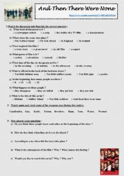 English Worksheet: And then there were none