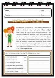English Worksheet: VOLLEYBALL IS FUN