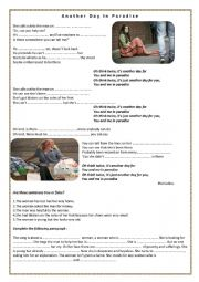 English Worksheet: ANOTHER DAY IN PARADISE  ( PHIL COLLINS )