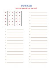 English Worksheet: BOGGLE! Spelling exercise worksheet. Fun