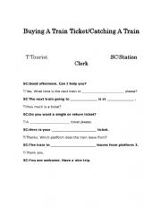 English Worksheet: Buying A Train Ticket Role-Play Full Dialogue And Dialogue Boxes
