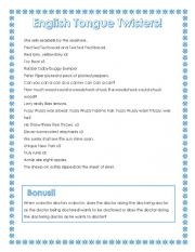 English Worksheet: ESL Tongue Twisters