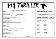 English Worksheet: Thriller Lyric Fill-in (Michael Jackson music video)