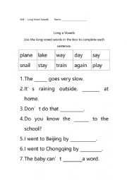 Long Vowel words expansion-A
