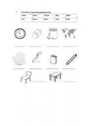 English Worksheet: My Class Room