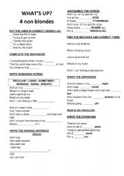4 non blondes - what´s up lyrics worksheet