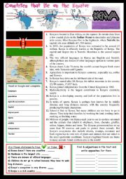 English Worksheet: Everything about Kenya (on the Equator).  Reading and/or web-search. + KEY