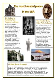 English Worksheet: The most haunted houses in the USA