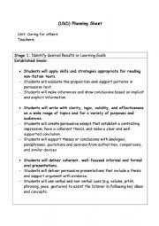 English Worksheet: UBD