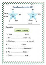 English Worksheet: Have got / has got