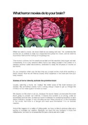 English Worksheet: What horror movies do to your brain?