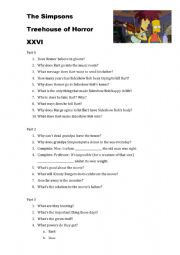 simpsons treehouse of horror XXVI worksheet