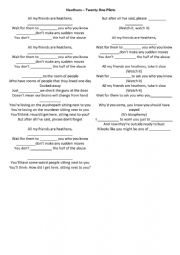 English Worksheet: HEATHES SONG