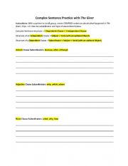 English Worksheet: Complex Sentence Practice with The Giver