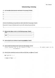 English Worksheet: listening test on volunteering