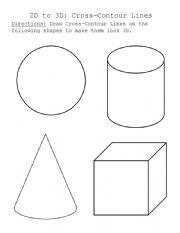 English Worksheet: Cross Contour Drawing Worksheet