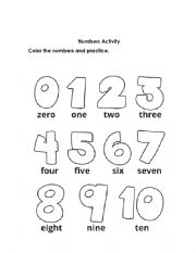 English Worksheet: Number and Body Parts