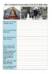 English Worksheet: Bobby Sands and the Irish Troubles