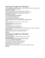 English Worksheet: Working Through Mistakes