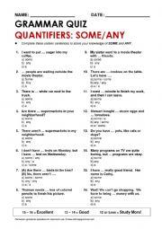 English Worksheet: Some/any