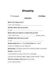 English Worksheet: (Updated) Shopping At A Clothes Shop Role-Play Full Dialogue And Dialogue Boxes