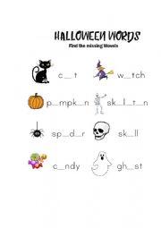 English Worksheet: Halloween Wovel Fill In