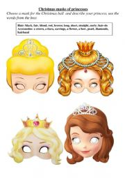 Christmas masks of princesses