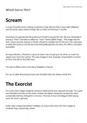 English Worksheet: Which horror film?
