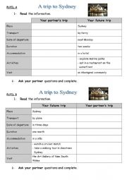 English Worksheet: Trip to Sydney