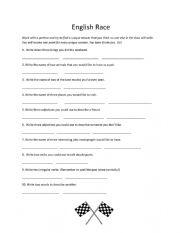 English Worksheet: races