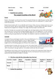 English Worksheet: The Largest Countries in the World