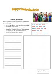 English Worksheet: Draw your Superhero/Superheroine