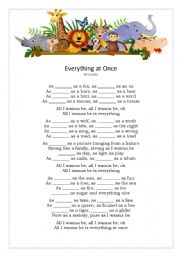 English Worksheet: Everything at once by Lenka