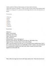 English Worksheet: nasa